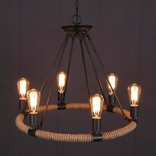 6.30-6 Loft Vintage in handmade hemp rope round pendant lamp in the traditional style