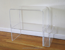 acrylic lucite side table with magazine rack on bottom