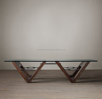 antique french coffee table with glass top/wooden coffee table