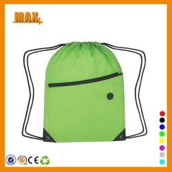 Max+ Cheap Printed Shopping Bag Custom Logo Nylon Drawstring Bag with Zipper Pocket