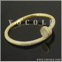 popular style mass zircon bracelet stainless steel gold plated bangle