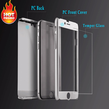2 in 1 Front and Back Rubberized Hard Cover Phone Case for Apple iPhone 6s iPhone6 with temper glass