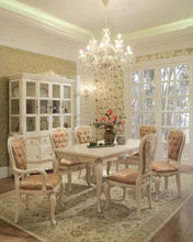 Noble French Style White Dining Room Set High End Classic Wood Dining Table and Chair