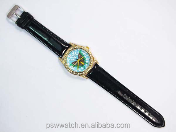 crystal face Japan movement genuine leather watch women's butterfly watches