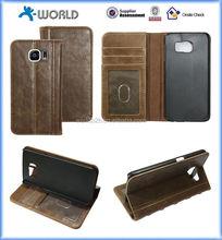 Vintage popular brown OEM logo stand card slots book case for samsung s6