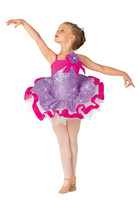 Amazing Design 2 IN 1 Girls Lavender Lycra Leotard w/Sequine,Professional Ballet Tutu Dress for Stage Performance Costumes
