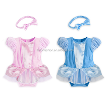 2015 new summer baby girl romper cinderella princess romper dress baby newborn short sleeve jumpsuit romper + headband 2 colors