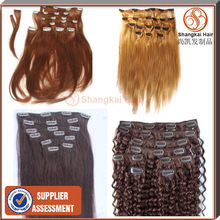 Wholesale human hair extension/brazilian human hair/ clip in hair extension
