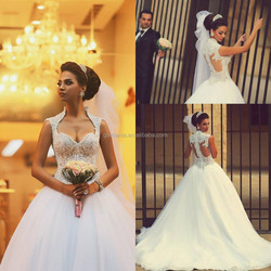 Newest Fashion Elegant White Color Lace Appliques Sexy Sheer Back Tulle Layered Long Train Wedding Dresses 2015 Ball Gown(WD357)