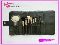 Latest fads 10pcs high quality synthetic cosmetic brush set with black case