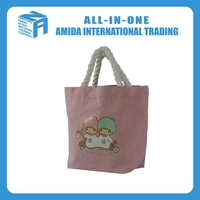 Cartoon design organic cotton canvas shopping bag