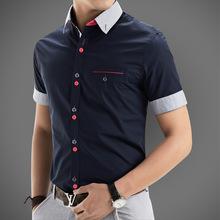 2015 New Brand Mens Dress Shirts Short Sleeve Casual Shirt Men Slim Fit Brand Design Formal Shirt Camisa Social chemise homme
