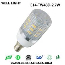 e14 48leds 3528smd 2.7w home decor led spot light fluorescent bulb