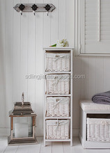 White Wooden 4 Drawer Wicker Basket Tall Chest Bedside Wood Furniture