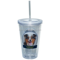 2015 Hot selling pug printing 16oz double wall plastic straw cups