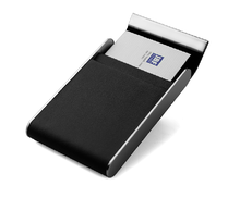 Magnetic metal pu leather name ID card case Leather business card holder