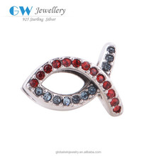 Bicolor Fish Charm With Red And Blue Stone Metal Beads X021