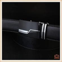 Gold buckle autolock cowhide genuine leather belt,no hole belt for men