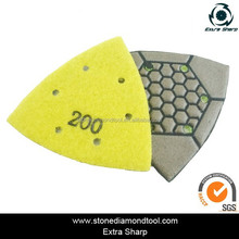stone marble granite suface diamond triangle dry polishing pads for wet air grinders