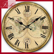 Antique Map Clock Home Decor Wooden Round Wall Clock
