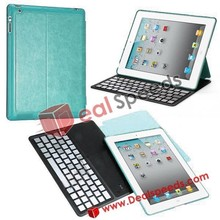Ultrathin Flip Stand Leather Aluminium Alloy Wireless Bluetooth Keyboard Case Cover for iPad 2 the New iPad iPad 4