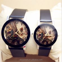King wood diamond cutting glass surface couple watch,leather watch(SWTPR993)