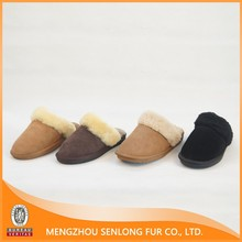 Suede Cow Leather Upper Sheep Fur Fleece Lined Slippers