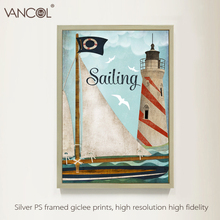 Lighthouse oil painting printed on canvas / sea and boat oil painting canvas art