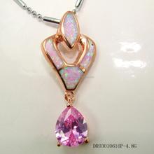Fine Opal Pendant Pink Zircon Candy Shaped Jewelry