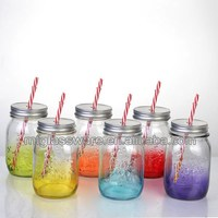 16oz painted color glass mason jar with handle with lid and straw