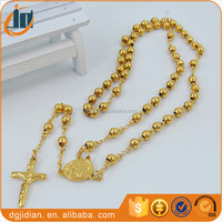 Men's 18k Yellow Gold Filled Jesus Cross Necklace