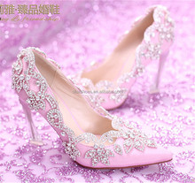 OW22 women sexy pointed toe wedge high heel wedding shoes