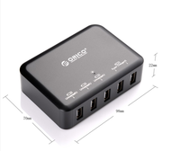 ORICO DCAP-5S-BK 5-Port Micro USB charger 40W Smart Supercharger for Iphone/Ipad/Samsung-Black
