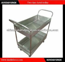 Stainless Steel Two Tiers Dinner Cart with Wheel