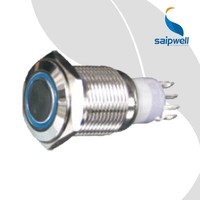 Saipwell 24V Illuminated Push Button CE Certificated Push Button Momentary Switch with LED Ring