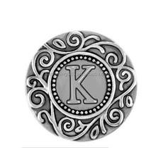20MM vintage silver filigree K snap button charms for snap bracelets