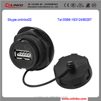 With Black Shell iP67 usb 2.0 connector housing outdoor usb female connector usb socket automotive