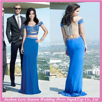HE10098 satin women dress short sleeves two pieces blue elegant beaded gown with gathers long evening gowns