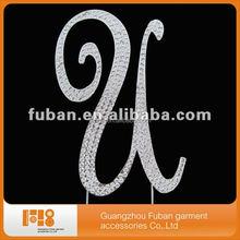 Monogram wedding crystal rhinestone cake toppers for wedding cake decorate