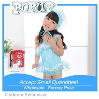 2015 New arrival Cute baby one-piece swimsuit lace patterns of girls tutu dress swimming sets with hat swimwear