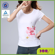 Hot Summer casual popular beaded cotton woman fancy custom printed t-shirt
