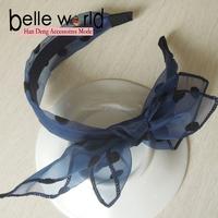 Fashion Blue Lace Polka dot Fabric Bow Headbands