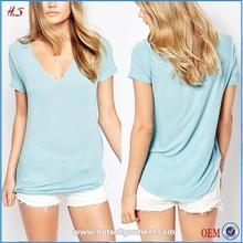 Best Seller Top Fashion Girl Elegant Blue Blank V-neck Semi-sheer T Shirt