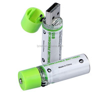 AA USB Battery 1.2V 1450mAh USB Cell, USBBATT Easy Charge Via Powered USB