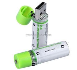 AA USB Battery 1.2V 1450mAh USB Cell, USBBATT Easy Charge Via Powered USB