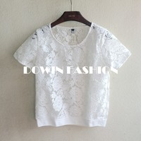 2015 sweetheart casual embroidery organza see through short sleeve ladies blouse tshirt