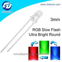 Ultra bright 2pins transparent round light emitting diode 3mm round rgb flashing led