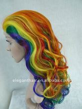 Rainbow synthetic party wig
