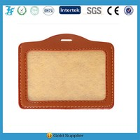 Brown color leather id card holder with window