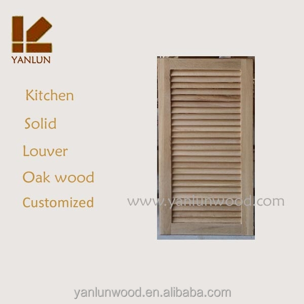 Low Price Unfinished Solid Oak Wood Louver Cabinet Door